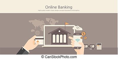 Modern and classic design online banking concept.