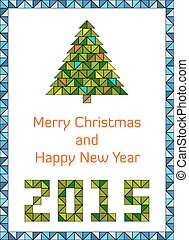 Modern and clean Merry Christmas and Happy New Year 2015 card