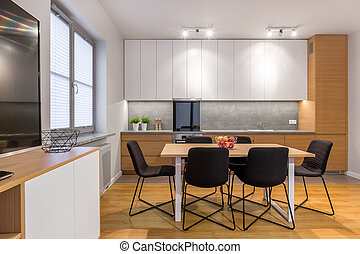 Modern and open kitchen - Dining table and chairs in modern,...