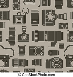 Modern and retro photo technics seamless background