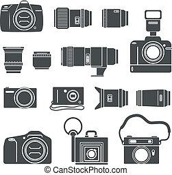 Modern and retro photo technics silhouettes