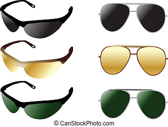 modern and retro sunglases color vector illustration