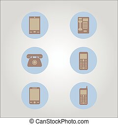 modern and vintage mobile  icons vector