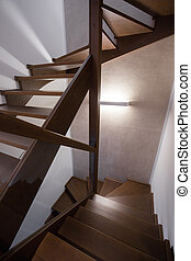 Modern and wooden stairs