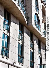 Modern apartman with blue windows