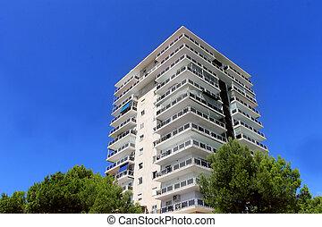 modern apartment building facade.  Modern apartment building Exterior of a tall modern facade Stock Photos and Images 17 185