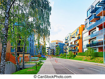 Modern apartment house flat residential building real estate outdoor