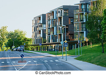 Modern apartment house residential building real estate outdoor