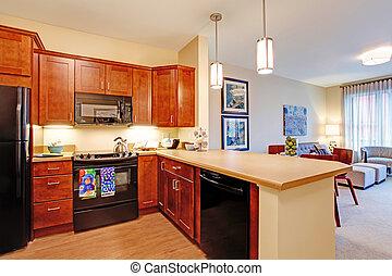 Modern apartment interior. Open floor plan