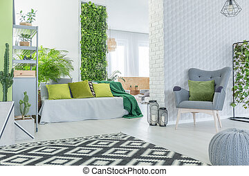 Modern apartment with 3d wallpaper