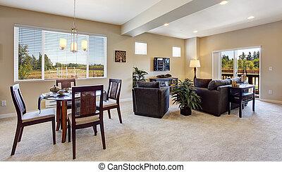 Modern apartment with open floor plan