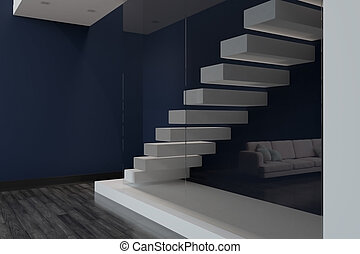 Modern apartment with stairs