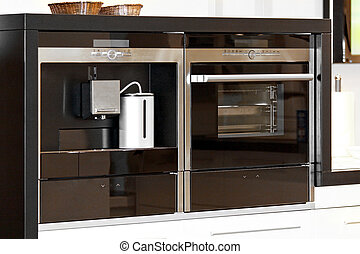 Modern appliances coffee machine and microwave oven