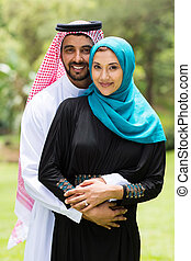 modern Arabian couple outdoors - modern Arabian couple...