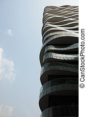 Modern architectural building against blue sky
