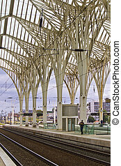 Modern architectural design of a train station