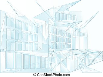 modern architecture. abstract blue geometric backgroud
