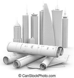 modern architecture and engineering concept, 3d illustration