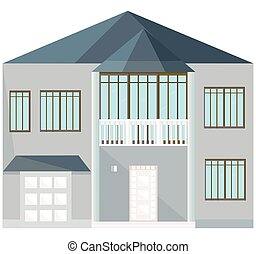 Modern architecture facade building vector illustrations