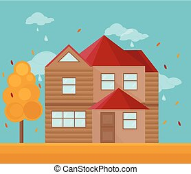 Modern architecture facade of a house. Vector illustration autumn background