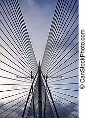 Modern architecture of abstract bridge building of ...