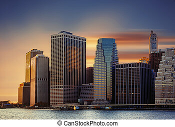 Manhattan. Sunset in New York City.