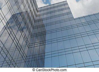 modern architecture of steel and glass building facade 3d illustration