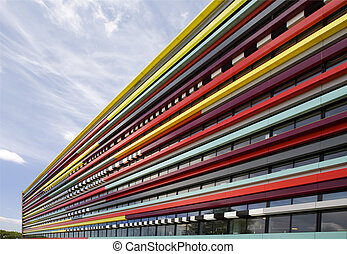 Modern architecture - The colorful façade of a building of...