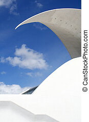 Modern archway with blue sky