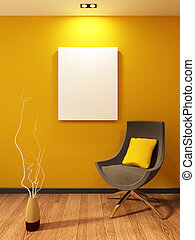 Modern armchair and blank on the wall in orange interior....
