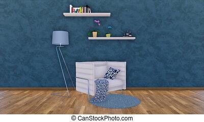 Modern armchair in dark minimalistic interior 3D - Modern...