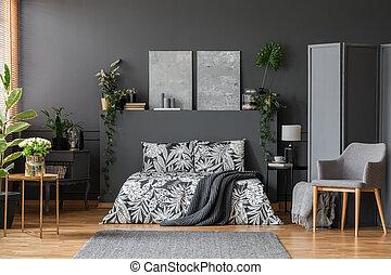 Modern armchair in elegant bedroom