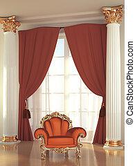 Modern armchair in royal interior residence