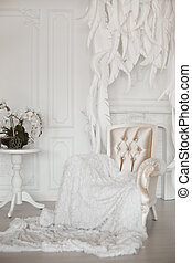 Modern armchair with fur before feathers wall in white interior.