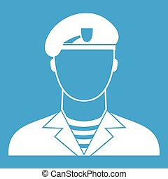 Modern army soldier icon white isolated on blue background...