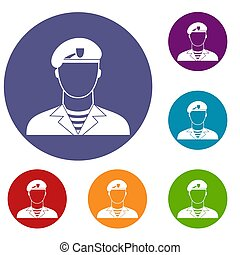Modern army soldier icons set in flat circle reb, blue and...