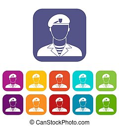 Modern army soldier icons set illustration in flat style in...