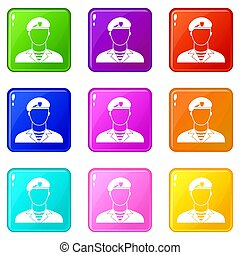 Modern army soldier set 9 - Modern army soldier icons of 9...