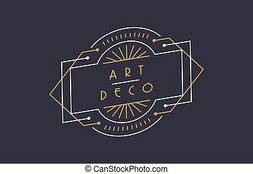 Modern art deco gold black frame background