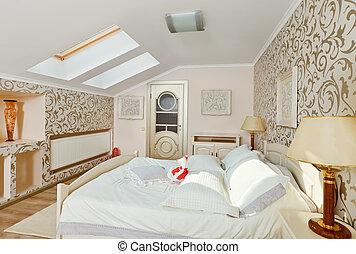 Modern art deco style bedroom interior in light beige colors on loft room