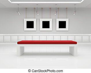Modern art gallery with blank frame and bench - rendering
