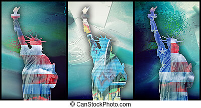 Liberty - Modern art. Liberty statue in national colors. ...