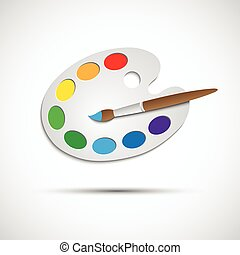 Modern art palette with brush and eight colors, vector illustration