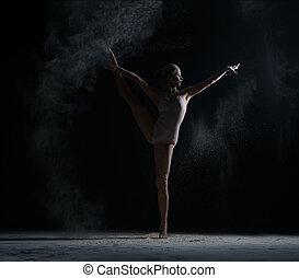 Modern art. Photo of flexible female dancer posing