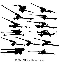 Modern artillery-1 - The contours of artillery. Illustration...