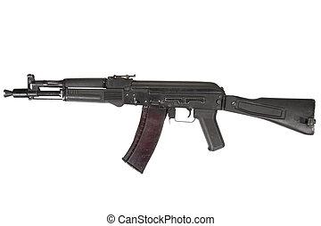 modern assault rifle on white