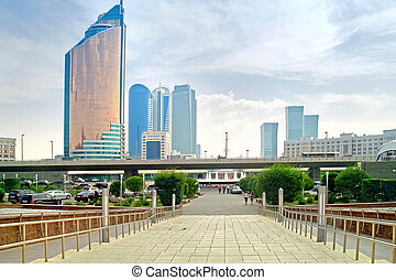 City landscape. A beautiful boulevard with modern buildings
