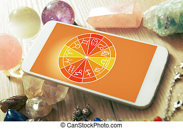 Modern astrology concept with mobile - Zodiac signs and...