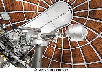 modern, astronomie- teleskop, in, ein, astronomisch,...