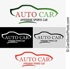 Modern Auto Vehicle Company Logo Design Concept with Sports Car Silhouette